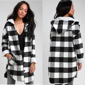 Black & White Plaid Coat